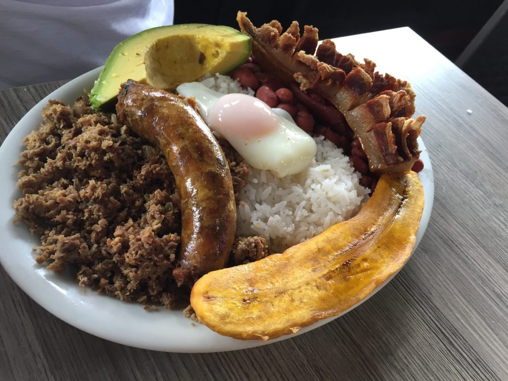 traditional dish, Bandeja Paisa, in Colombia