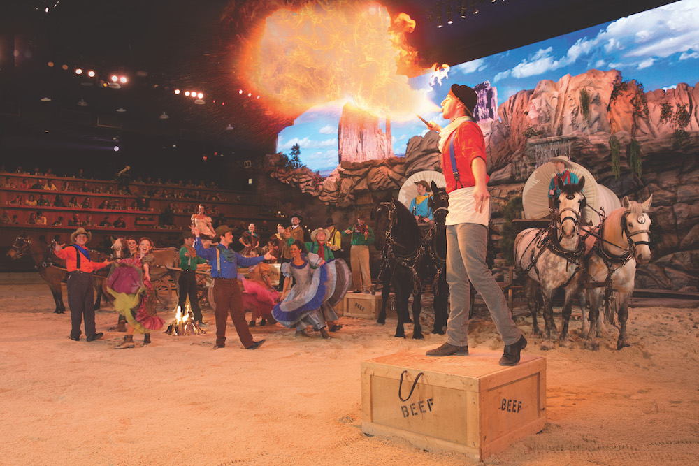 Fire breathing performer at Dixie Stampede