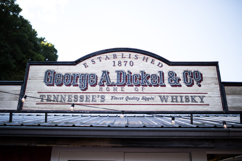 George Dickel sign atop the distillery building