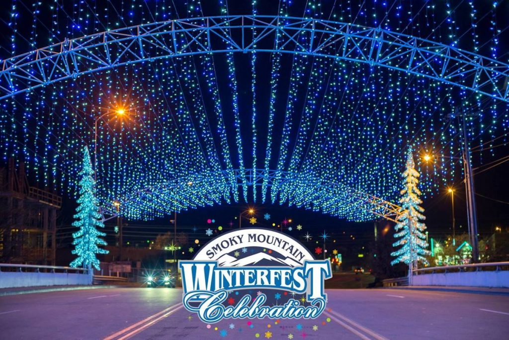 winter fest lights in the Smoky Mountains