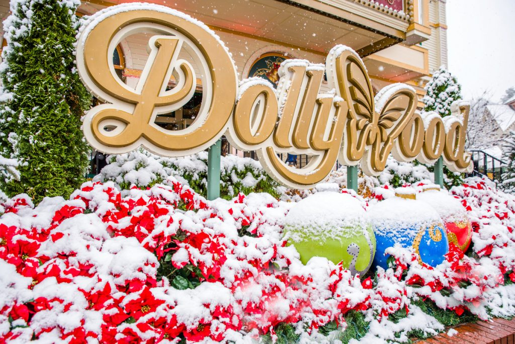 dollywood sign covered in snow