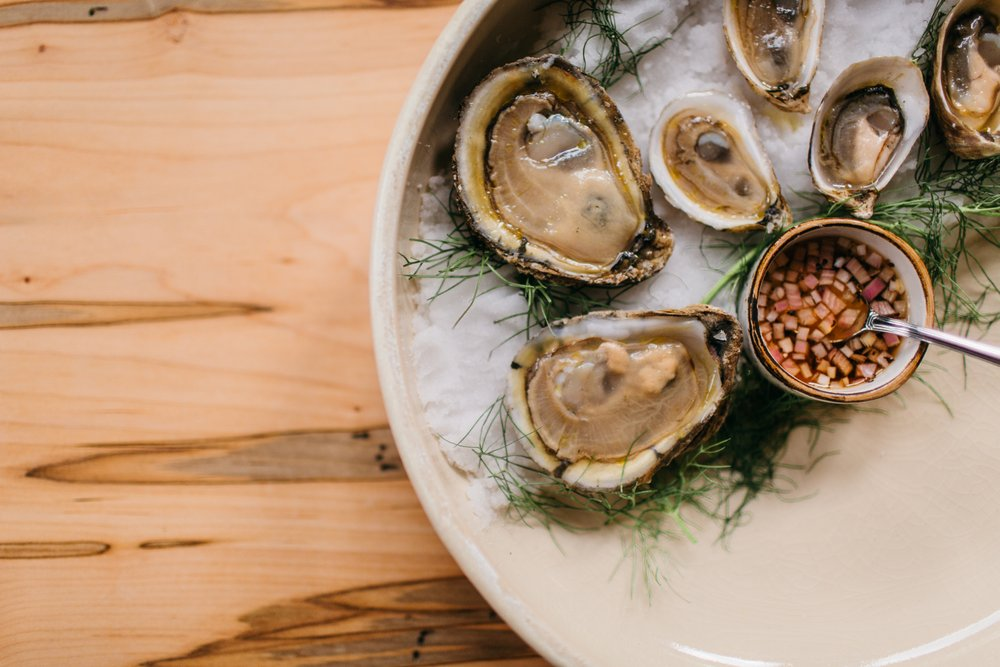 raw oysters on the half shell from Easy Bistro in Chattanooga