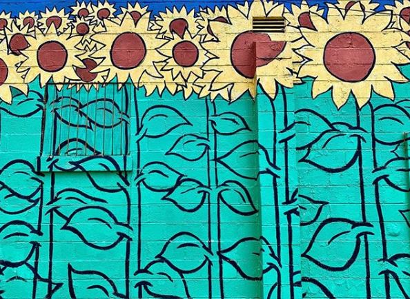 nashville mural, painted sunflowers