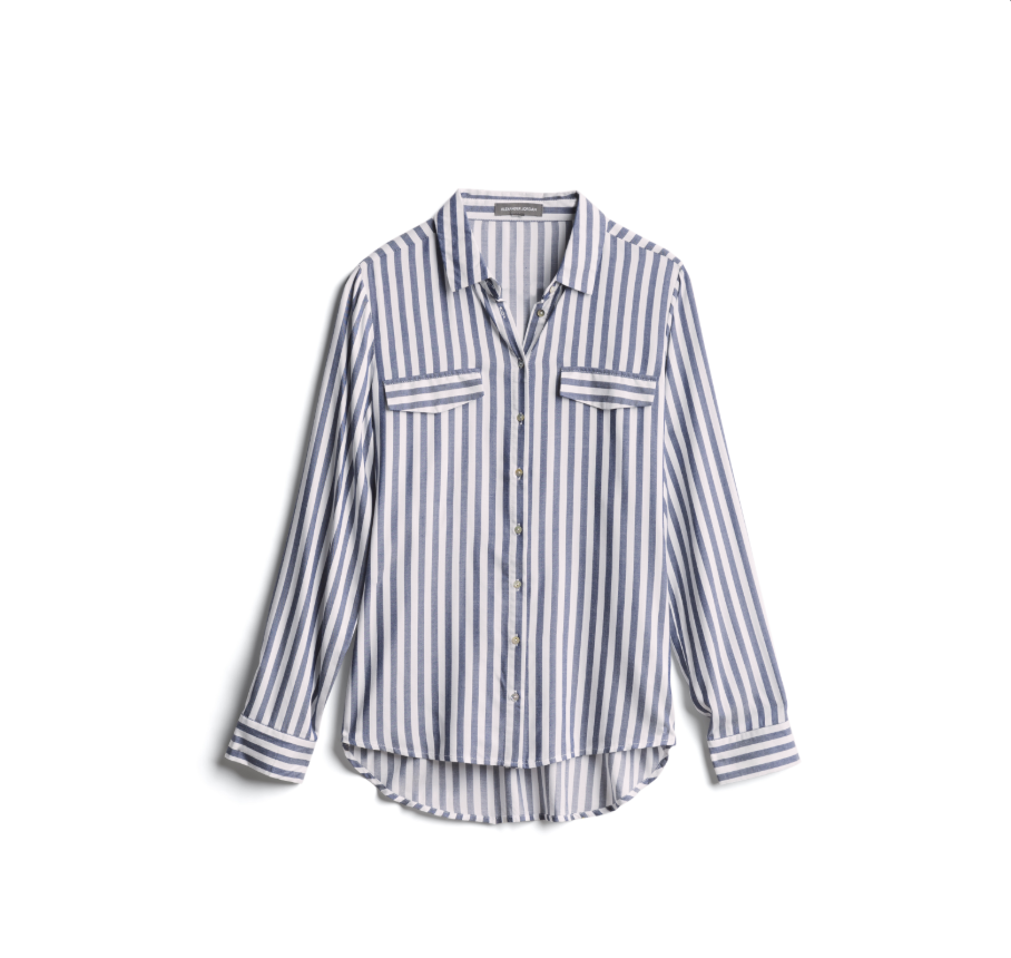 blue and white stripped shirt