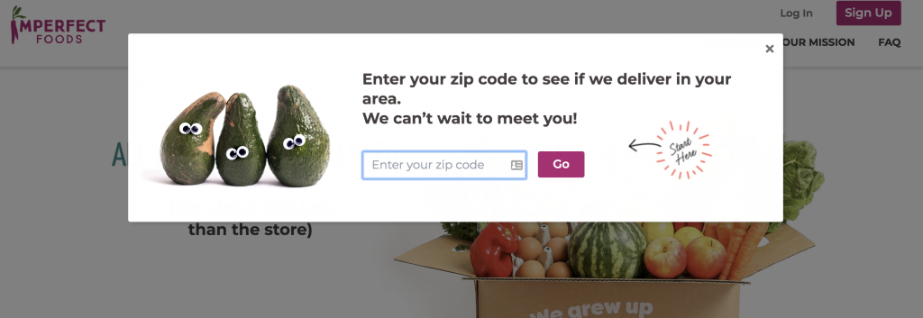 imperfect produce zip code check pop up on website