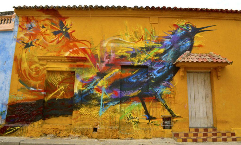 mural of a multicolored bird in Getsemani Cartagena