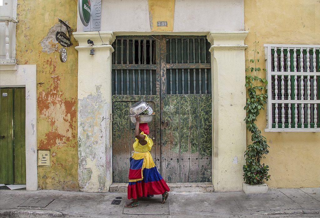 woman walking in getsemani colombia