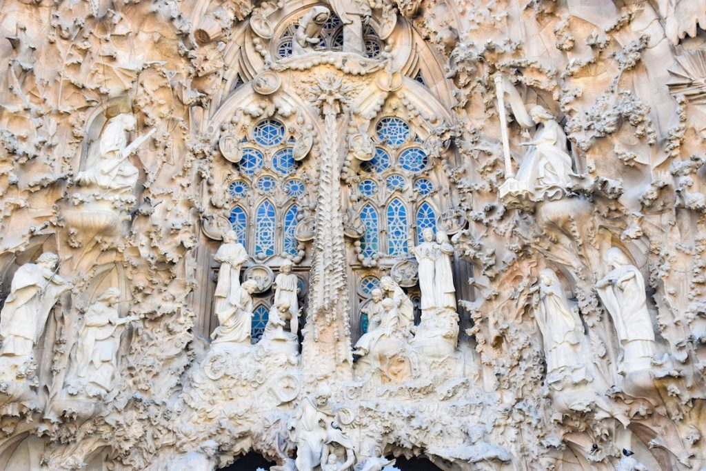 close up of detail at la sagrada familia - one of the most popular things to do in barcelona