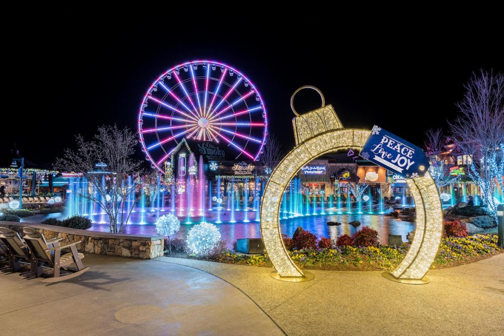 The Island in Pigeon Forge decorated for Christmas