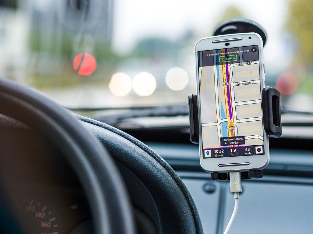 ride sharing phone mounted inside car