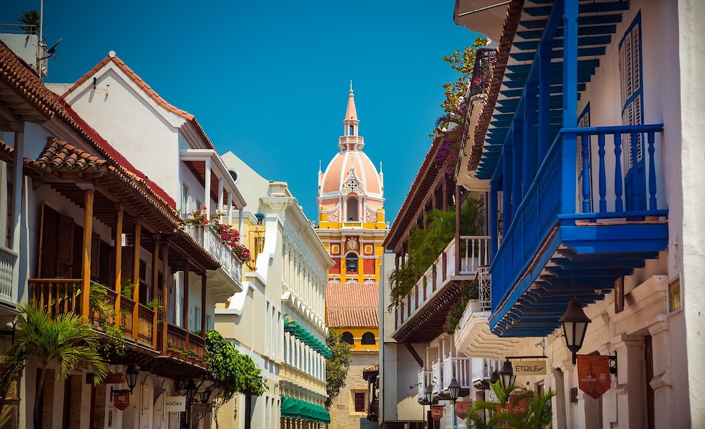 skyline in cartagena colombia with the church bell tower