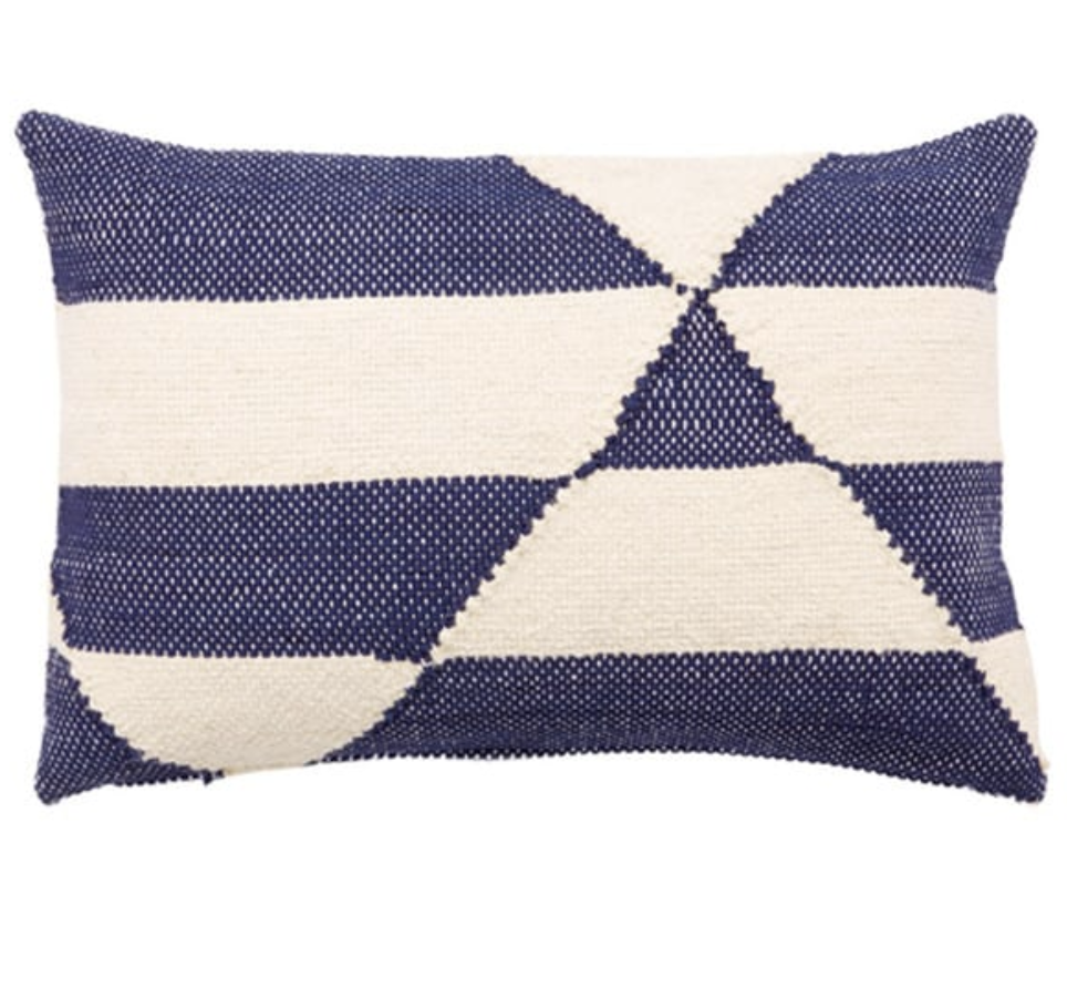 Nikki Chu Caveat Geometric Navy/ White Throw Pillow