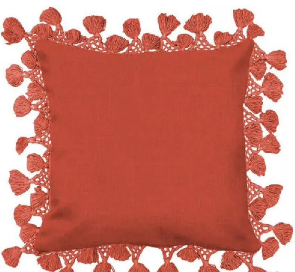 Square Solid Pillow with Fringe