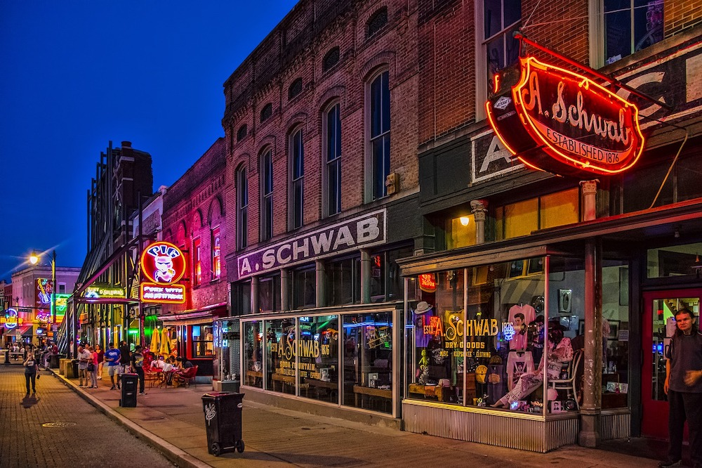 Beale Street in Memphis at night with neon signs