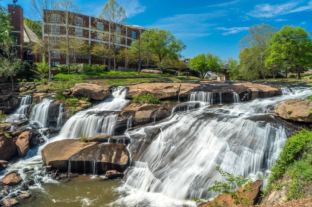 small water fall in Greenville South Carolina