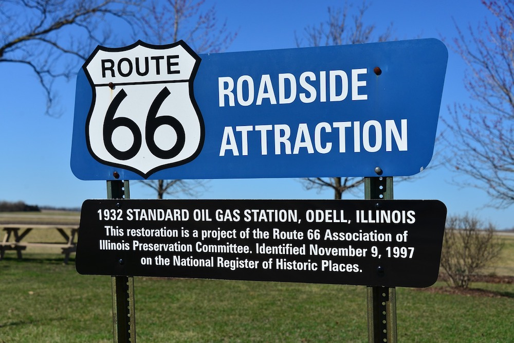 historic route 66 road side sign
