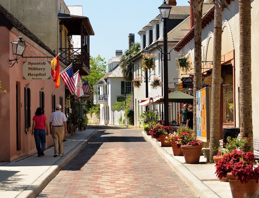 St Augustine Florida pedestrian only street in the historic quarter